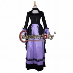 Cosplaydiy Women's Black&Purple Southern Belle Gothic Renaissance Dress For Wedding Party Dress