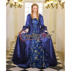 18th Rococo Marie Antoinette Baroque blue print dress