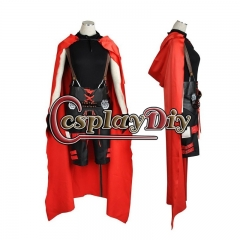 Cosplaydiy Anime RWBY 3 Ruby Rose Cosplay Unisex Battle Uniform Costume With Red Cloak Cape Halloween Party