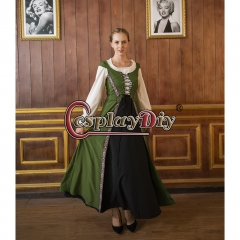 Cosplaydiy Womens Medieval Dress Renaissance Pirate Peasant Viking Wench Dress Cosplay Costume Maid Dress