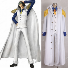 Cosplaydiy Anime One piece Aokiji Kuzan Navy Admiral Uniform Cosplay Costume adult Men Halloween Outfit