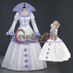 Cosplaydiy Aldnoah Zero Asseylum Vers Allusia Princess Cosplay Costumewhite and purple dress Halloween Women Adult Dress Custom Made