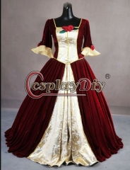 Cosplaydiy Beauty and the Beast Belle RED Dress For Christmas ball gown dress Custom Made