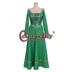 Cosplaydiy Shrek Princess Fiona Cosplay Costume Dress Adult Women Halloween Fancy Princess Dress custom made