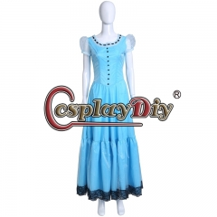 Cosplaydiy Alice in Wonderland Cosplay Costume Princess women Long Blue fancy Dress Halloween Carnival Party Dress custom made