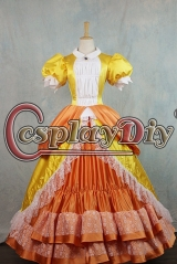 Cosplaydiy Super Mario Princess Daisy Dress Cosplay Costume For Adult Ball Gown Dress Halloween Fancy Costume  dress