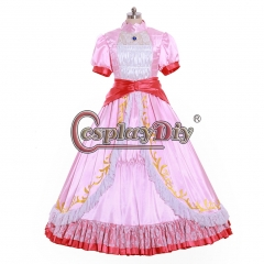 Cosplaydiy Super Mario Princess Peach Dress Cosplay Costume For Adult Ball Gown Dress Halloween Fancy Costume dress
