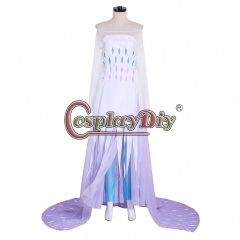 Cosplaydiy 2019 Elsa Queen White Dress Princess Elsa Snow Ice Dress Custom Made