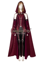 Cosplaydiy Wanda Vision Scarlet Witch Wanda Cosplay Costume Wanda Superheroine Maximoff Battle Outfit Red Women Suit